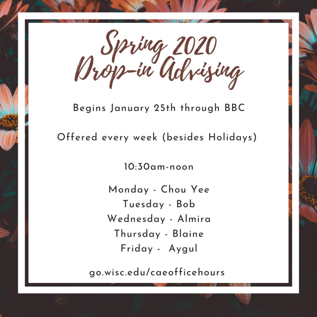 spring drop in advising